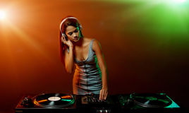 Music DJ woman Royalty Free Stock Images