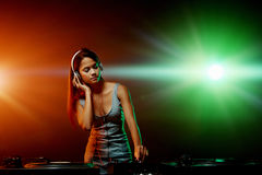 Music DJ woman Stock Photo