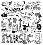 Music doodle collection, hand drawn illustration. Royalty Free Stock Photos