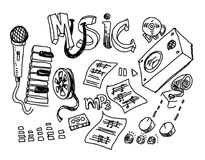 Music doodle collection, hand drawn illustration Stock Image