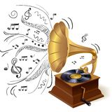 Music doodle gramophone Stock Images