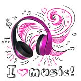 Music doodle headphones Royalty Free Stock Image