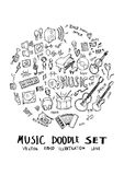 Music doodle illustration circle form on a4 paper wallpaper line. Sketch style Royalty Free Stock Photography