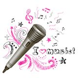 Music doodle microphone Stock Photography