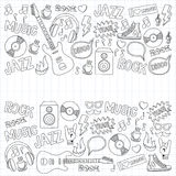 Music doodle vector set. Hand drawn pictures Stock Photos