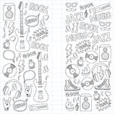 Music doodle vector set. Hand drawn pictures Royalty Free Stock Image
