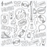 Music doodle vector set. Hand drawn pictures Royalty Free Stock Images