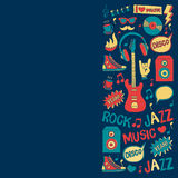 Music doodle vector set. Hand drawn pictures Royalty Free Stock Photo