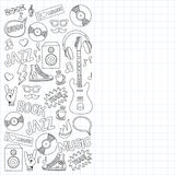 Music doodle vector set. Hand drawn pictures Stock Images