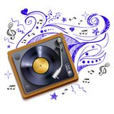 Music doodle vinyl record player vector illustration
