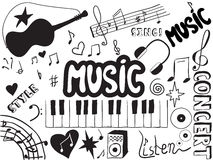 Music doodles. Background on black and white vector illustration