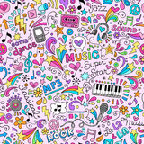Music Doodles Groovy Seamless Pattern Background Stock Photos