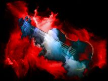 Do Violins Dream?. Music Dream series. Composition of violin and abstract colorful paint on the subject of musical instruments, melody, sound, performance arts royalty free illustration