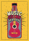 Music and Drink Festival typographic grunge poster design with guitar and bottle. Retro vector illustration. Royalty Free Stock Photography