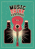 Music and Drink Festival typographic grunge poster design with guitar and bottles. Retro vector illustration. Stock Photography