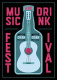 Music and Drink Festival typographic poster design with guitar and bottle. Retro vector illustration. Royalty Free Stock Photos