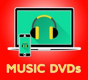 Music Dvds Indicates Compact Discs 3d Illustration. Music Dvds Online Indicates Compact Discs 3d Illustration Royalty Free Stock Photography