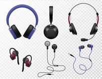 Free Music Earphones. Various Types Realistic Earbuds, Wireless Headset And Portable In Ear Headphones, Sound Gadget Stock Images - 166174994