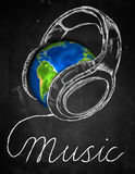 Music Earth Headphone Background. Digital Drawing Royalty Free Stock Photos