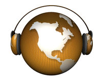 Music earth with headphones Royalty Free Stock Photos