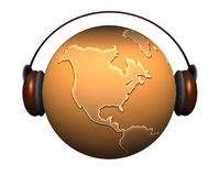 Music earth with headphones Royalty Free Stock Images