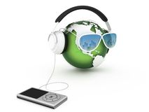 Music Earth With Headphones Stock Images