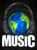 Music Earth Universal Sketch Headset. Digital Drawing Royalty Free Stock Photos