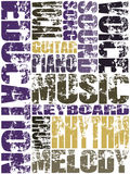 Music Education. Grunge design with music education keywords on the white background vector illustration