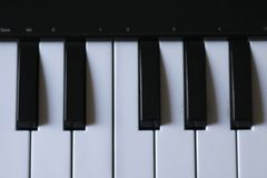 Music electronic keyboard. Close-up of an Music electronic keyboard, top view royalty free stock photos