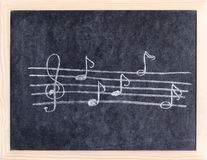 Music elements. Drawn on blackboard Stock Photos