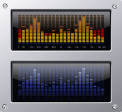 Music elements. Vector equalizer on the metal plate Royalty Free Stock Photo