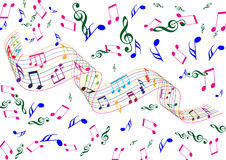 Music elements. Drawn on blackboard in isolated background Royalty Free Stock Photo