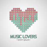 Music emblem. Vector music logo and sign. Color recording studios, music store and radio badge with sample text Stock Image