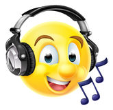 Music Emoji Emoticon Wearing Headphones. An emoticon emoji wearing headphones and listening to music or singing along. With musical notes vector illustration