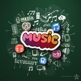 Music and entertainment collage with icons on Royalty Free Stock Image
