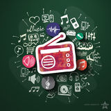 Music and entertainment collage with icons on Royalty Free Stock Photo