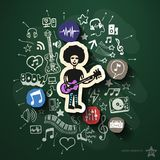 Music and entertainment collage with icons on Royalty Free Stock Photography