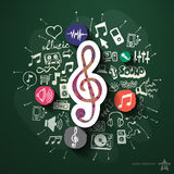 Music and entertainment collage with icons on Stock Photography