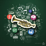 Music and entertainment collage with icons on Stock Images