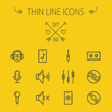 Music and entertainment thin line icon set Royalty Free Stock Image
