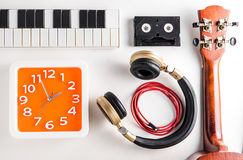 Music Entertainment time. Music equipments with clock timing. Music Entertainment time. Music equipments with wall clock timing royalty free stock image