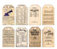 Music ephemera tags with holes. Vintage music sheet ephemera collage tags Stock Photography