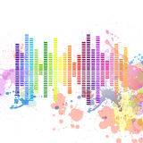 Music equalizer. Illustration of a colorful music equalizer on a grungy splash background Royalty Free Stock Images