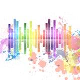 Music equalizer. Illustration of a colorful music equalizer on a grungy splash background stock illustration