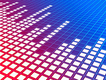 Music equalizer background. 3d blue/red gradient perspective music equalizer background. Rendered image Royalty Free Stock Images