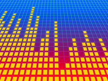 Music equalizer background. 3d blue/red gradient perspective music equalizer background. Rendered image Stock Photos