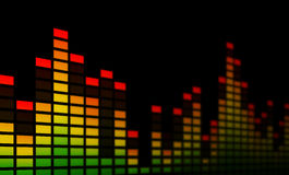 Music Equalizer Bars - Close-up. Close-up of electronic music equalizer bars, representing music, beat or sound. On a black background Stock Images