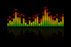 Music Equalizer Bars. Electronic music equalizer bar, representing music, beat or sound. With a reflection and on a black background royalty free illustration