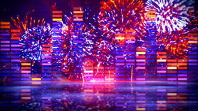 Music equalizer and firework display Stock Photography