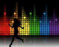 Music equalizer and running girl Royalty Free Stock Photos